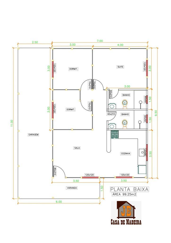 Casa de Madeira 100 m² Térrea em Garapa Planta